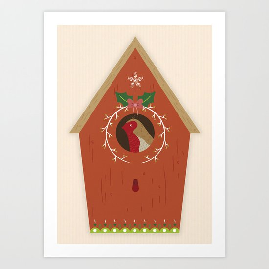Red Bird House Art Print