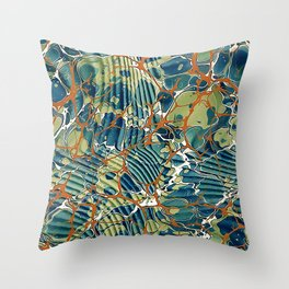 Old Marbled Paper 05 Throw Pillow