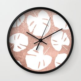 Tropical white monstera leaves on rose gold glitter ombre faux rose gold foil Wall Clock