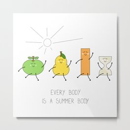 Body positive illustration with cartoon body types - an apple, a pear, a rectangle and an hourglass Metal Print