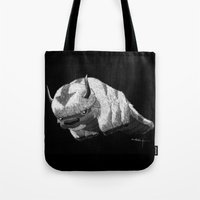appa Tote Bags featuring Bison by Creadoorm