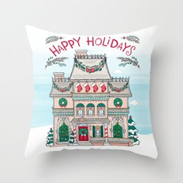 Happy Holidays House Throw Pillow