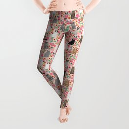 Cat floral mixed breeds of cats gifts for pet lovers cat ladies florals Leggings