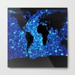 world MAP Blue Galaxy Stars Metal Print