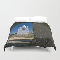 portugal Duvet Covers featuring Arraiolos white tower, Portugal by Michael Howard
