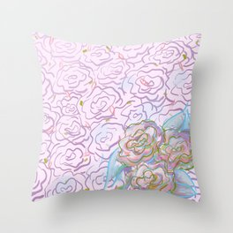 Rosy Floral Throw Pillow