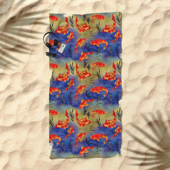 The deep water- koi fishes - watercolor Beach Towel
