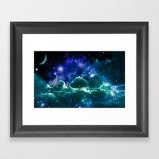 galaxy clouds Blue Green Framed Art Print