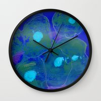 jelly fish Wall Clocks featuring Jelly Fish by Ink and Paint Studio