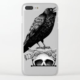 Black Crow, Skull and Cross Keys Clear iPhone Case