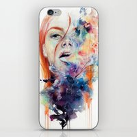 watercolour iPhone & iPod Skins featuring this thing called art is really dangerous by agnes-cecile