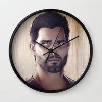 derek hale Wall Clocks featuring Teen Wolf - Derek Hale V1 by Caim Thomas