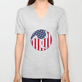 Taiko Mitsudomoe Patriotic American Flag Graphic design. Unisex V-Neck