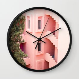 Muralla Roja photography print | abstract travel art | escher like building architecture photo Wall Clock