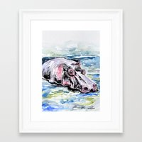 hippo Framed Art Prints featuring Hippo by Tricia Kibler