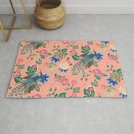 Peacock Floral in Coral Rug