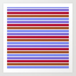 Modern violet red brown geometrical stripes pattern Art Print