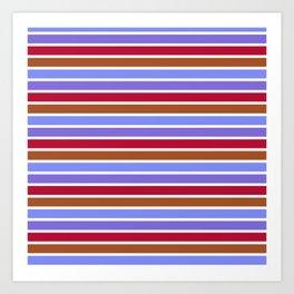 Modern violet red brown geometrical stripes pattern Art Print