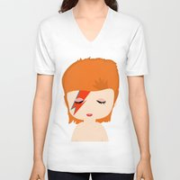 david bowie V-neck T-shirts featuring David Bowie by Creo tu mundo