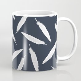 Sketchy White Bird Feather Seamless Vector Pattern Background Coffee Mug