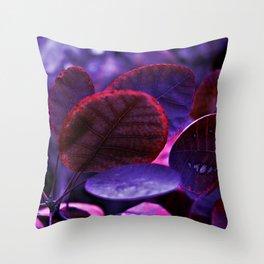 Bleeding VIOLET Smoke bush leaves Throw Pillow