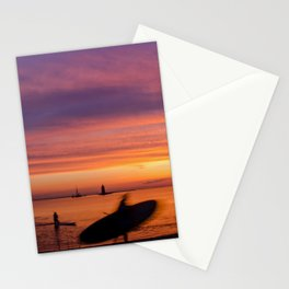 Paddle Surfer in the Sunset Coastal / Beach Landscape Photograph Stationery Cards