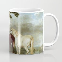 Classical Masterpiece Circa 1762 Mares and Foals in a River Landscape by George Stubbs Coffee Mug
