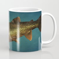 trout Mugs featuring Trout on Teal Blue by Brooke T Ryan Photography