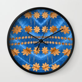 Blue Copper Silk Floral Wall Clock