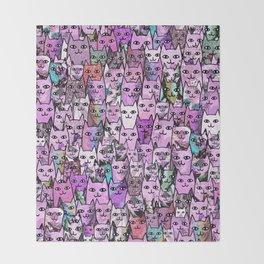 Pink Cat Crowd Throw Blanket