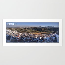 Panoramic View of a white town in Andalusia Art Print