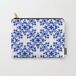 Sapphire Blue Vintage Brocade Damask Carry-All Pouch