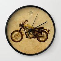 ducati Wall Clocks featuring Ducati Scrambler 350 1970 by Larsson Stevensem