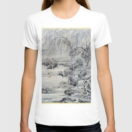 12,000pixel-500dpi - Kawanabe Kyosai - Buffalo And Herdsman - Digital Remastered Edition T-shirt