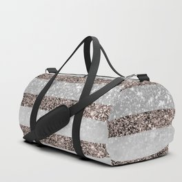 White Marble Rose Gold Glitter Stripe Glam #2 #minimal #decor #art #society6 Duffle Bag