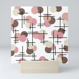 Atomic Age Molecules 3 Salmon Pink Brown Mini Art Print