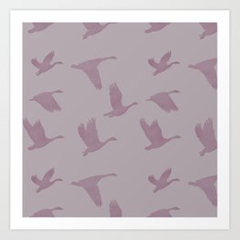 Flying Birds Pattern | Violet Mood Art Print