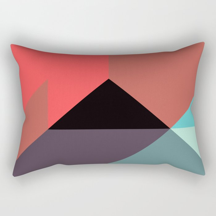 Red Black Blue Triangles Rectangular Pillow