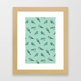 doodle birds - mint Framed Art Print