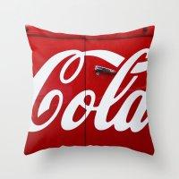 coca cola Throw Pillows featuring Coca Cola  by Lia Bernini