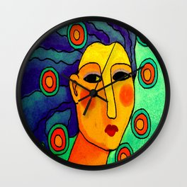 Abstract Digital Portrait of a Woman Wall Clock
