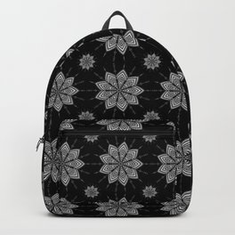Geometric Floral Pattern - Black & White Backpack