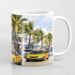 Yellow Cabs On Ocean Drive Coffee Mug