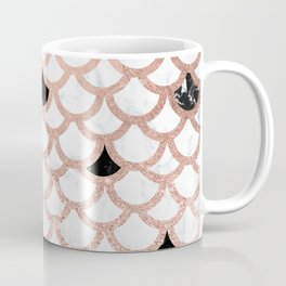 Girly rose gold black white marble mermaid scallop pattern Coffee Mug