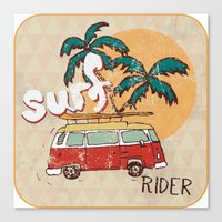 surfing Canvas Prints featuring Surfing by Julia