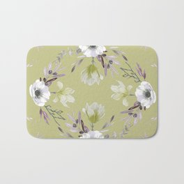 Floral Square Yellow Bath Mat