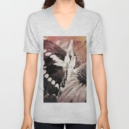 coneflower and butterfly Unisex V-Neck
