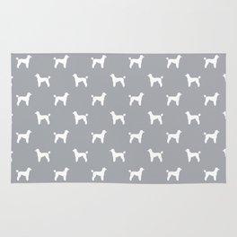 Poodle silhouette grey and white minimal modern dog art pet portrait dog breeds Rug