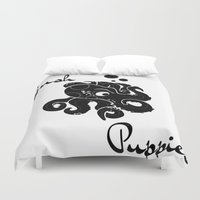 puppies Duvet Covers featuring Hush Puppies Japan by Mike Semler