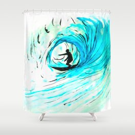 Solo - Surfing the big blue wave Shower Curtain